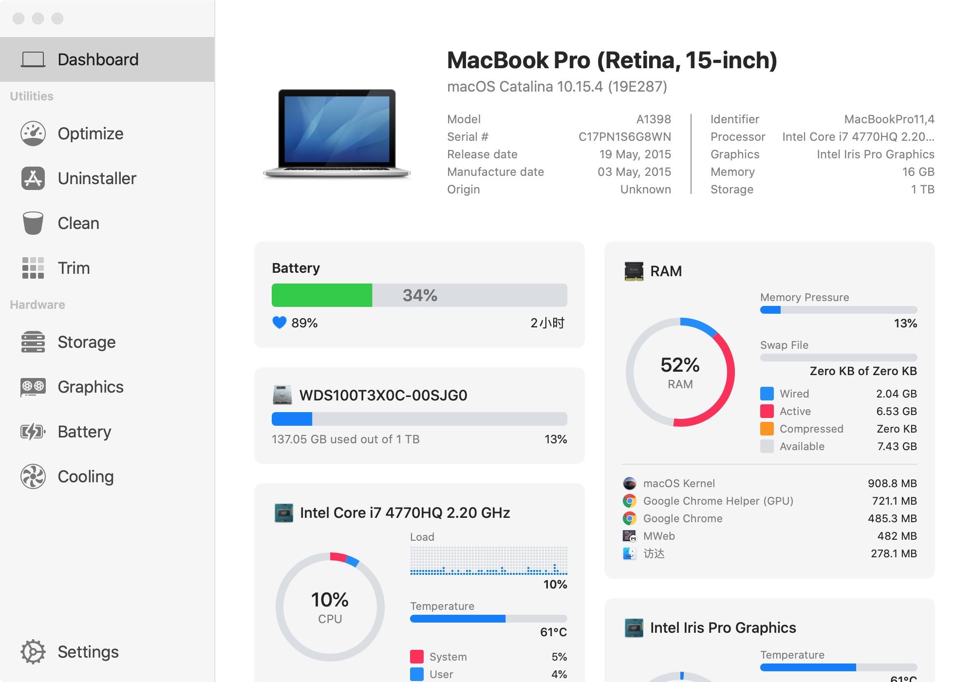 小麦的15款macbook pro性能监控